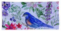 Bluebird In A Garden Hand Towel