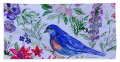 Bluebird In A Garden Bath Towel