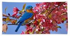 Bluebird In Apple Blossoms Hand Towel