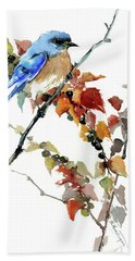 Bluebird In The Fall Hand Towel