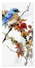 Bluebird In The Fall Bath Towel