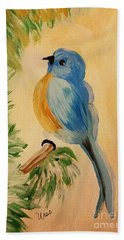 Bluebird Hand Towel by Maria Urso