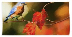 Bluebird Of Autumn Hand Towel by Darren Fisher