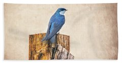 Bath Towel featuring the photograph Bluebird Post by James BO Insogna