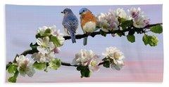 Bluebirds In Apple Tree Hand Towel