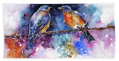 Hand Towel featuring the painting Bluebirds by Zaira Dzhaubaeva