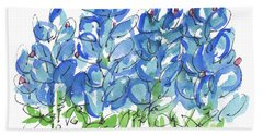 Bluebonnet Dance Whimsey,by Kathleen Mcelwaine Southern Charm Print Watercolor, Painting, Bath Towel