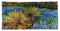 Bath Towel featuring the painting Bluebonnets And Yucca by Hailey E Herrera