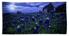 Hand Towel featuring the photograph Bluebonnets In The Blue Hour by Linda Unger
