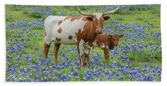 Bluebonnets With Longhorn And Calf 1 Bath Towel