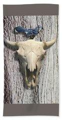 Bluejay And The Buffalo Skull Hand Towel
