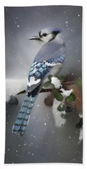 Bluejay In Winter Hand Towel
