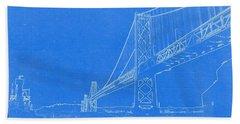 Blueprint Of Suspension Bridge Bath Towel