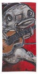Blues Cat On Guitar Bath Towel