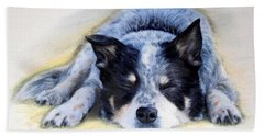 Hand Towel featuring the painting Bluey by Ryn Shell
