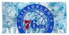 Hand Towel featuring the digital art bluish backgroud for Philadelphia basket by Alberto RuiZ