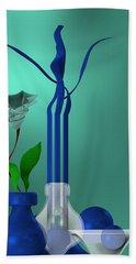 Hand Towel featuring the digital art Bluish Still Life Growing by Alberto RuiZ