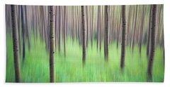 Blurred Aspen Trees Hand Towel