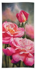 Blushing Roses With Bud Hand Towel