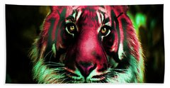 Hand Towel featuring the photograph Blushing Tiger by George Pedro