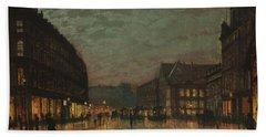 Boar Lane, Leeds, By Lamplight By John Atkinson Grimshaw. Hand Towel
