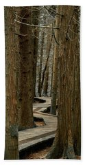 Hand Towel featuring the photograph Boardwalk Among Trees by Scott Holmes