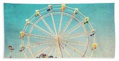 Boardwalk Ferris Wheel Hand Towel by Melanie Alexandra Price