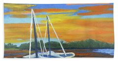 Hand Towel featuring the painting Boat Adrift by Margaret Harmon