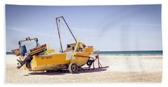 Hand Towel featuring the photograph Boat And The Beach by Silvia Bruno