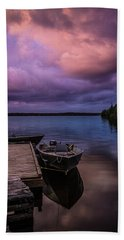 Boat Dock At Sunrise Hand Towel