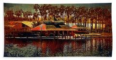 Boat Dock On North Lake Hand Towel
