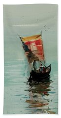 Hand Towel featuring the painting Boat by Helal Uddin