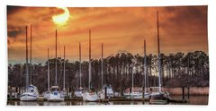Boat Marina On The Chesapeake Bay At Sunset Hand Towel