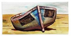 Boat On Beach Hand Towel