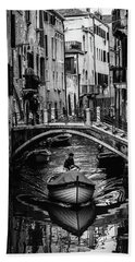 Boat On The River-bw Bath Towel