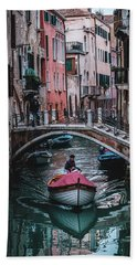 Boat On The River Hand Towel