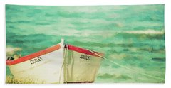 Boat On The Shore Hand Towel