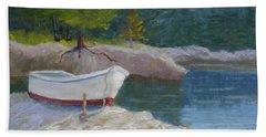 Boat On Tidal River Bath Towel