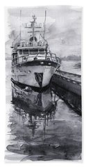 Boat On Waterfront Marina Kirkland Washington Hand Towel by Olga Shvartsur
