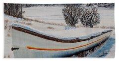 Boat Under Snow Hand Towel