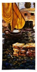 Hand Towel featuring the painting Boat With Golden Sail,san Vigilio  by Cristina Mihailescu