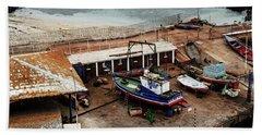 Boat Yard Iquique Harbor Chile Bath Towel