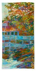 Bath Towel featuring the painting Boathouse At Mountain Lake by Kendall Kessler