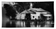 Bath Towel featuring the photograph Boathouse Bw by Bill Wakeley