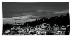 Boathouse Row Philadelphia Pa Night Black And White Bath Towel