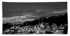 Boathouse Row Philadelphia Pa Night Black And White Hand Towel