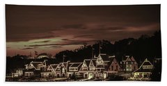 Boathouse Row Philadelphia Pa Night Retro Bath Towel