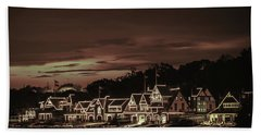 Boathouse Row Philadelphia Pa Night Retro Hand Towel