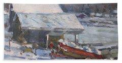Boathouses Along Frozen Canal  Bath Towel