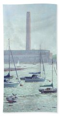 Hand Towel featuring the painting Boats At Fawley Hampshire by Martin Davey